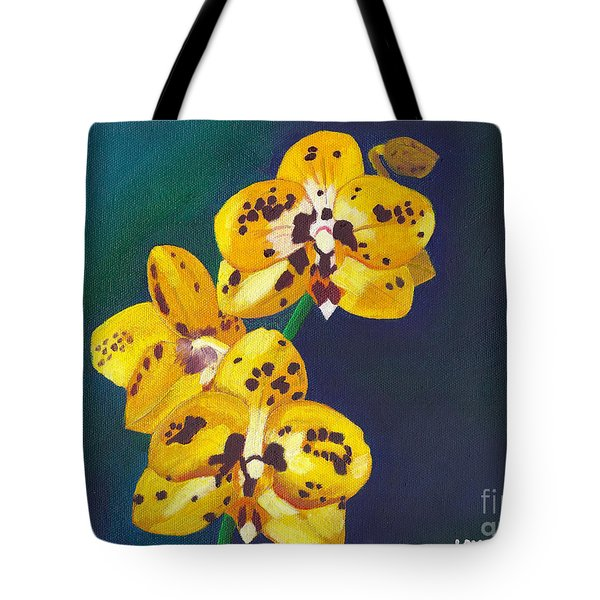Tote Bag featuring the painting Yellow Orchids by Laura Forde