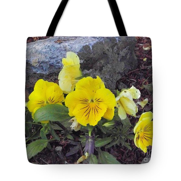 Tote Bag featuring the photograph Yellow Pansies by Charles Robinson