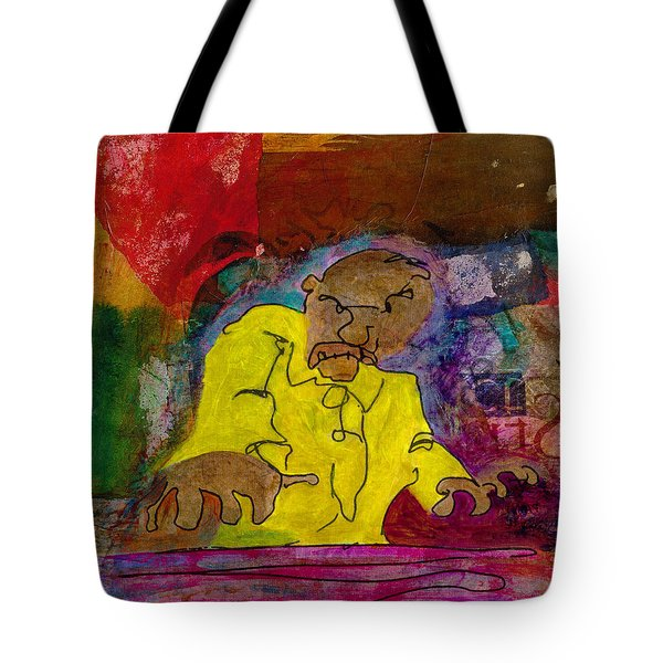 Yellow Piano Man Tote Bag by Catherine Redmayne