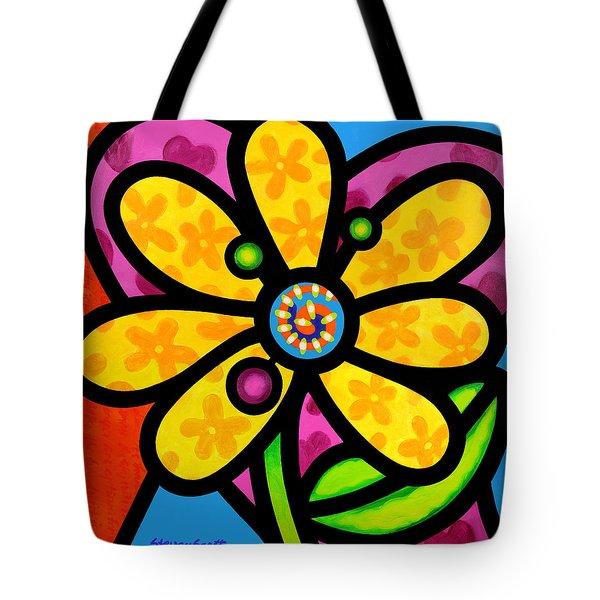 Yellow Pinwheel Daisy Tote Bag