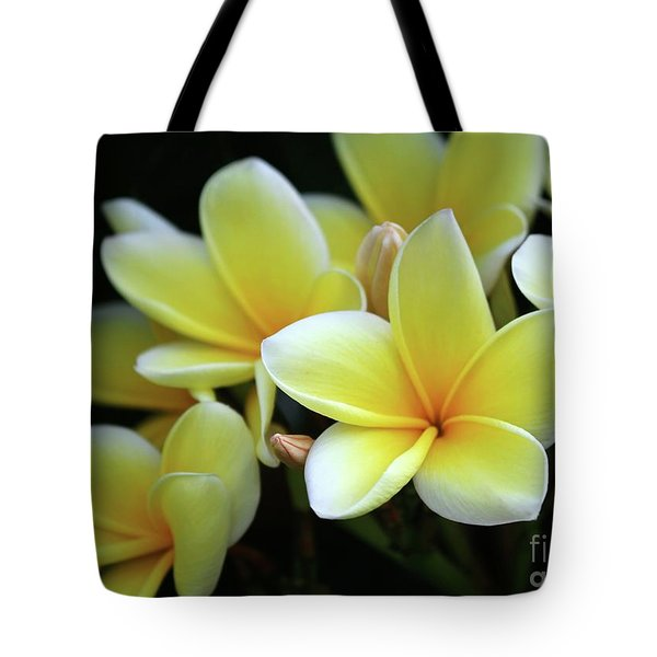 Yellow Plumeria Cascade Tote Bag
