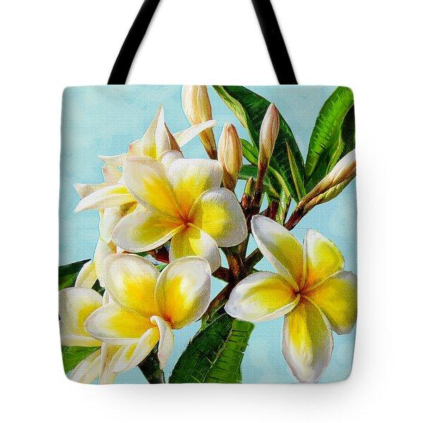 Yellow Plumeria Tote Bag by Jane Schnetlage