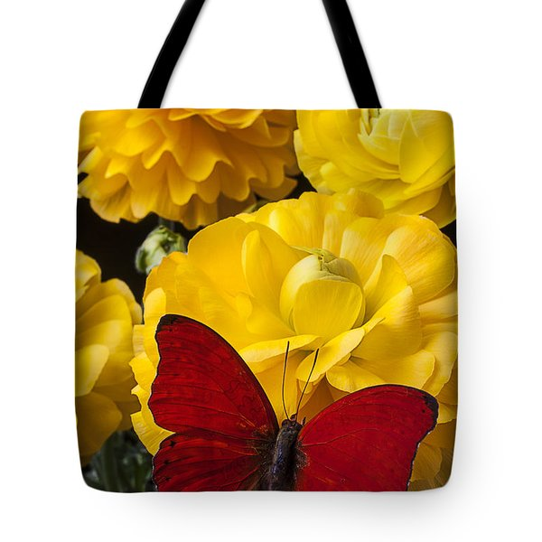 Yellow Ranunculus And Red Butterfly Tote Bag by Garry Gay