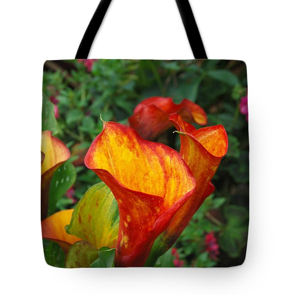 Tote Bag featuring the photograph Yellow Red Calla Lily by Eva Kaufman