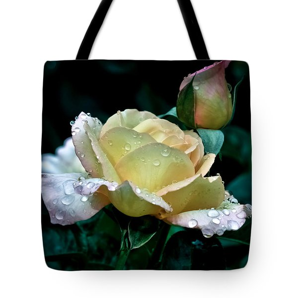 Yellow Rose Morning Dew Tote Bag by Julie Palencia