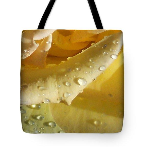 Yellow Rose Raindrops Tote Bag
