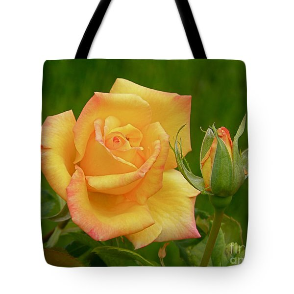 Tote Bag featuring the photograph Yellow Rose With Bud by Debby Pueschel