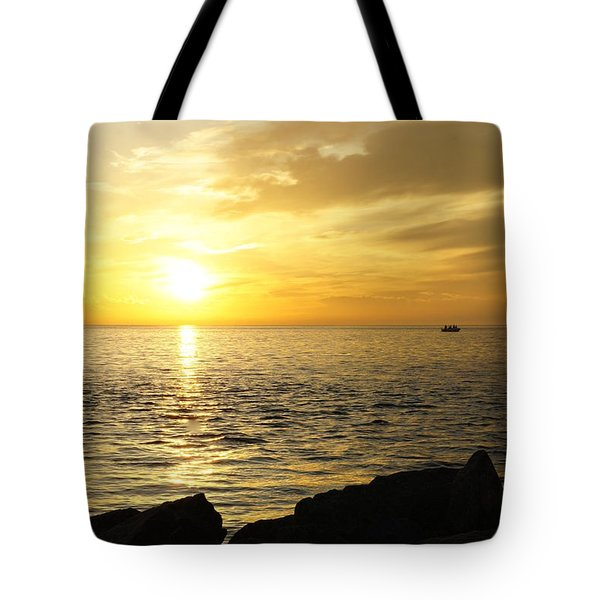 Tote Bag featuring the photograph Yellow Sky by Laurie Perry