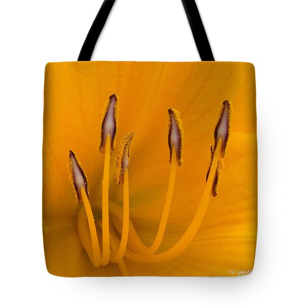 Yellow Stamens Squared Tote Bag by TK Goforth