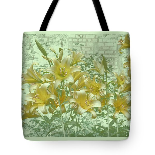 Tote Bag featuring the photograph Yellow Stargazers On Soft Green by Tom Wurl