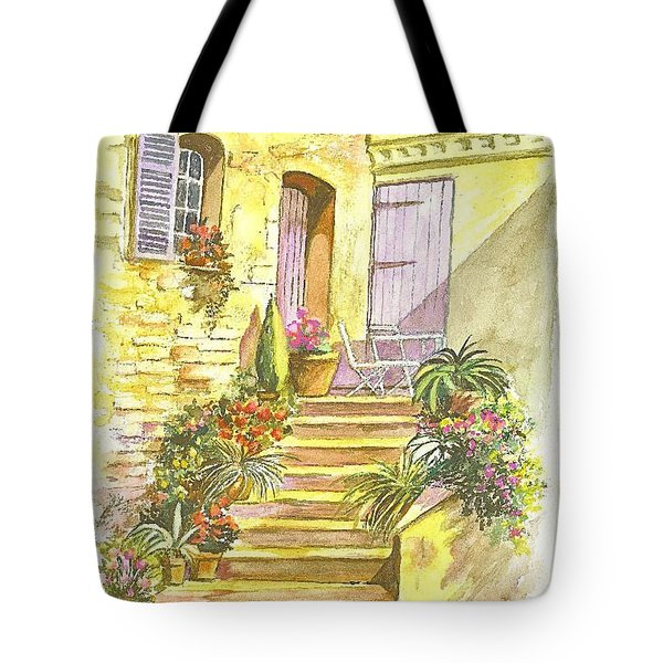 Yellow Steps Tote Bag by Carol Wisniewski