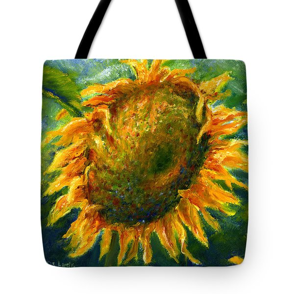 Yellow Sunflower Art In Blue And Green Tote Bag by Lenora  De Lude
