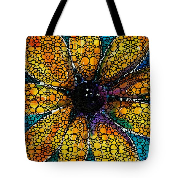Yellow Sunflower - Stone Rock'd Art By Sharon Cummings Tote Bag by Sharon Cummings