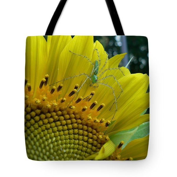 Tote Bag featuring the photograph Yellow Sunflower With Green Spider by MM Anderson