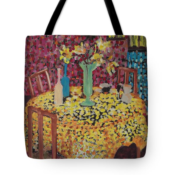 Yellow Table Tote Bag by Karen Coggeshall
