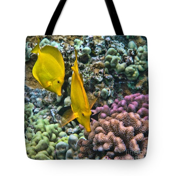 Yellow Tang Pair Tote Bag by Peggy Hughes