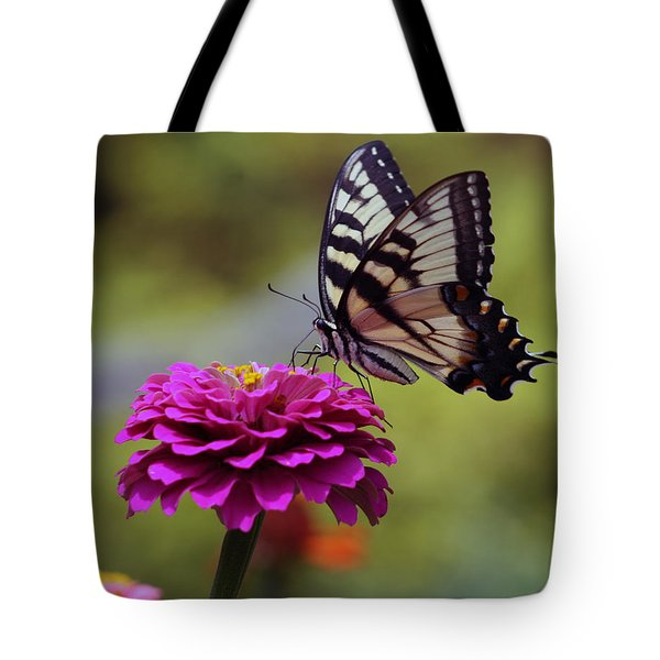 Tote Bag featuring the photograph Yellow Tiger Swallowtail Butterfly by Kay Novy