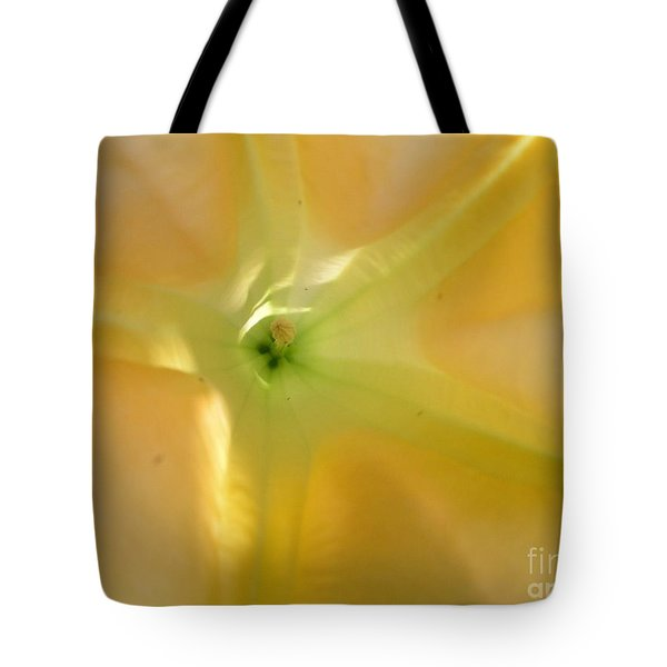 Yellow Translucent Flower Tote Bag by Bev Conover