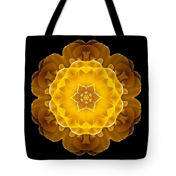 Yellow Tulip II Flower Mandala Tote Bag