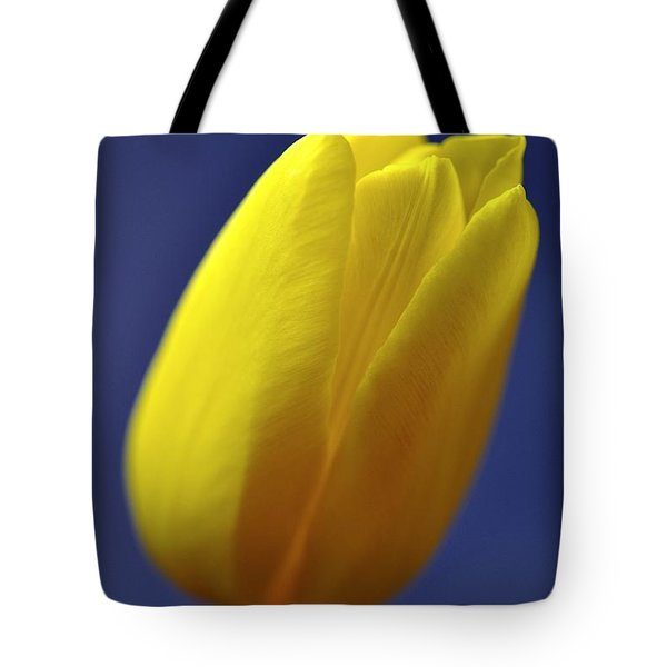 Yellow Tulip On Blue Background Tote Bag