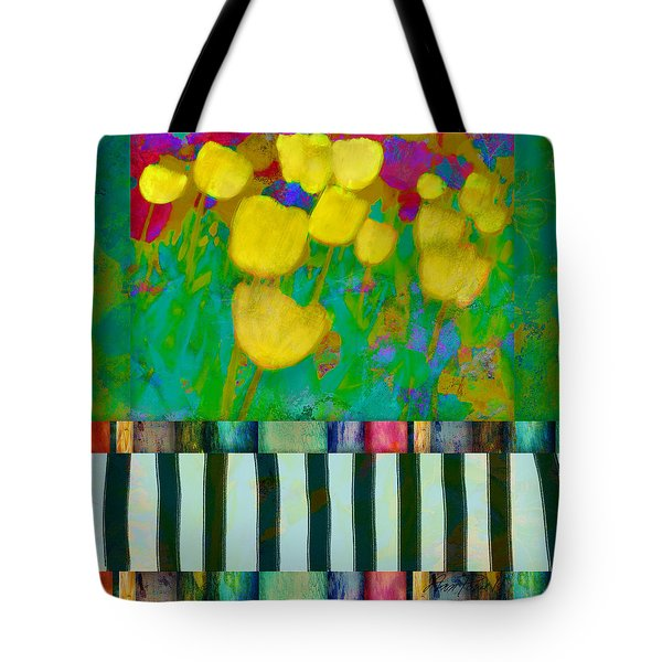 Yellow Tulips Abstract Art Tote Bag by Ann Powell