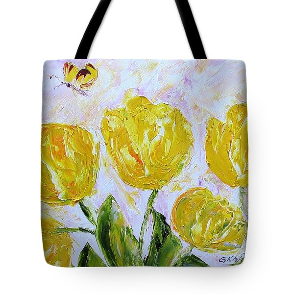 Yellow Tulips And Butterfly Tote Bag