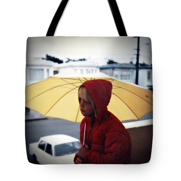 Tote Bag featuring the photograph Yellow Umbrella - Polaroid 1976 by Patricia Strand