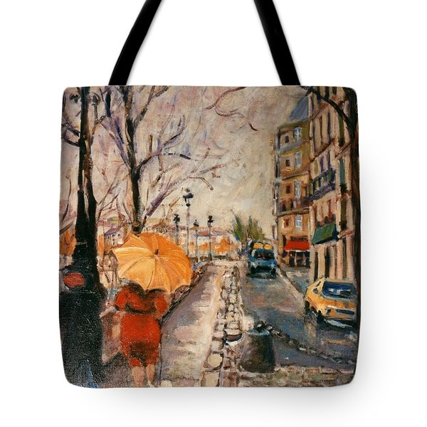 Tote Bag featuring the painting Yellow Umbrella by Walter Casaravilla
