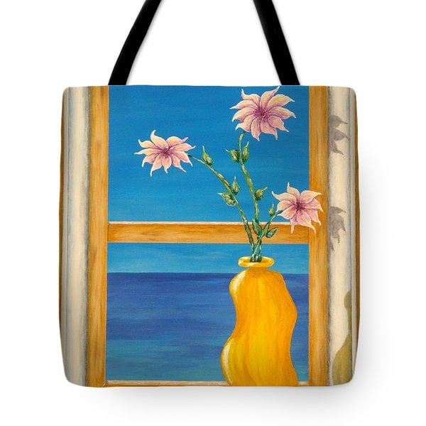 Yellow Vase With Sea View Tote Bag by Pamela Allegretto