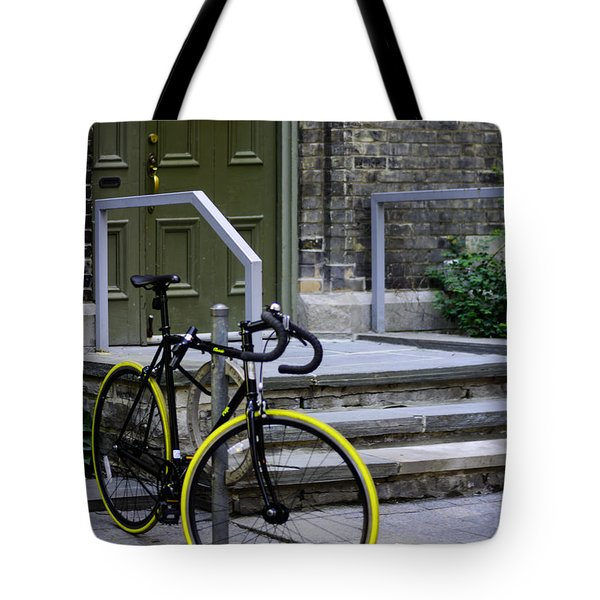 Yellow Wheeled Bike Tote Bag