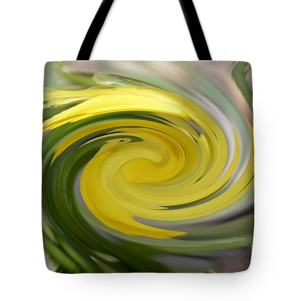 Tote Bag featuring the digital art Yellow Whirlpool by Luther Fine Art