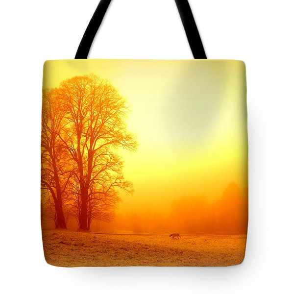 Yellow Winter Sunrise Tote Bag by The Creative Minds Art and Photography