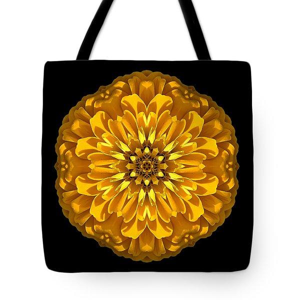 Yellow Zinnia Elegans Flower Mandala Tote Bag