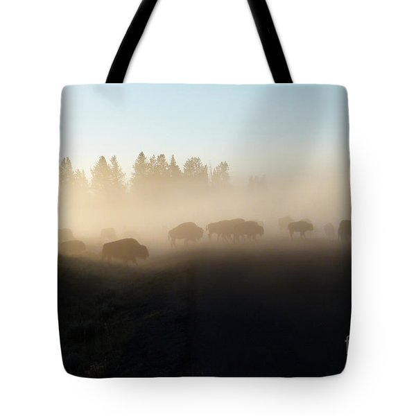 Yellowstone Bison In Early Morning Fog Tote Bag by Bob and Nancy Kendrick