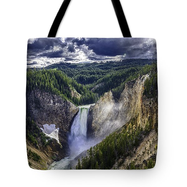 Tote Bag featuring the photograph Yellowstone Canyon Lower Falls by Bitter Buffalo Photography
