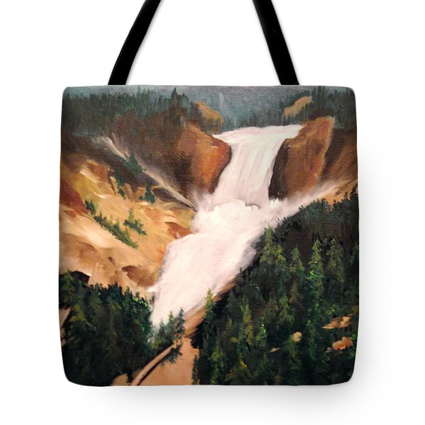 Tote Bag featuring the painting Yellowstone by Ellen Canfield