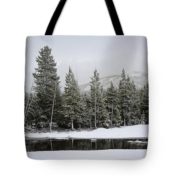 Yellowstone Gibbon Meadows Spring Snow And Reflection Tote Bag by Bruce Gourley
