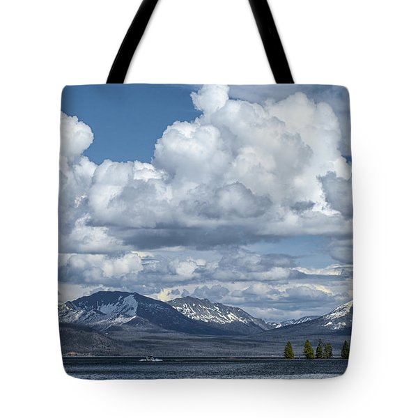Yellowstone Lake Cloudscape Tote Bag by Sandra Bronstein