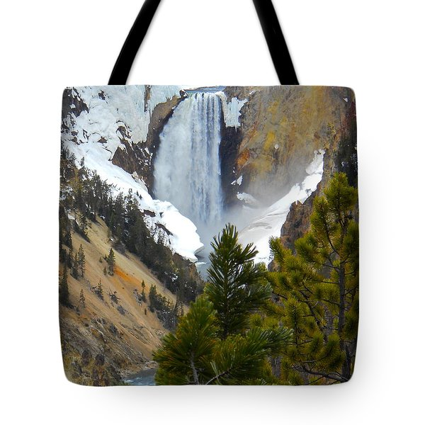 Tote Bag featuring the photograph Yellowstone Lower Falls In Spring by Michele Myers