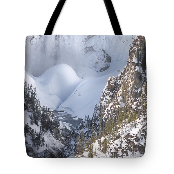 Yellowstone -  Lower Falls In Winter Tote Bag by Sandra Bronstein
