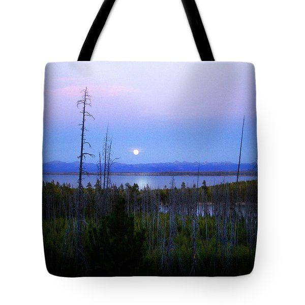 Tote Bag featuring the photograph Yellowstone Moon by Ann Lauwers