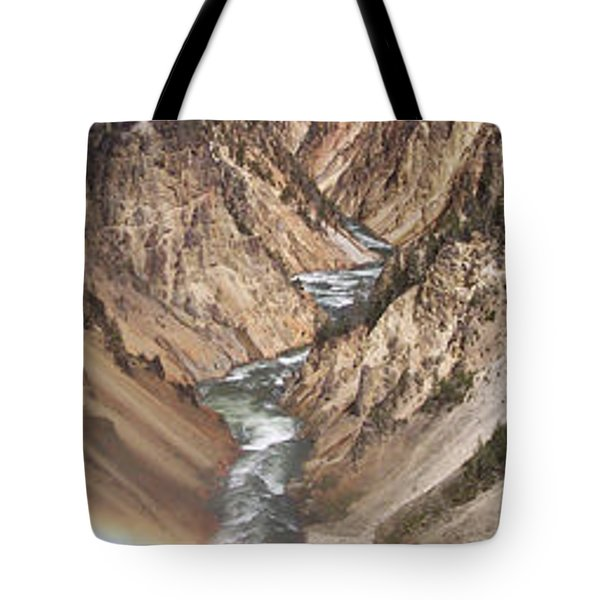 Yellowstone National Park Montana  3 Panel Composite Tote Bag by Thomas Woolworth