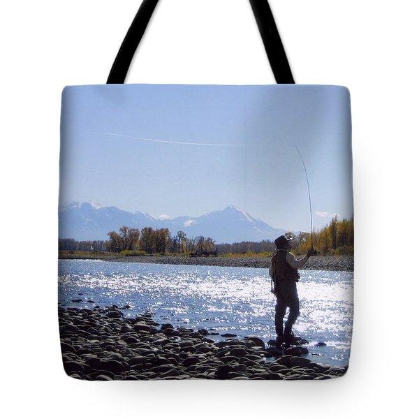 Yellowstone River Fly Fishing Tote Bag