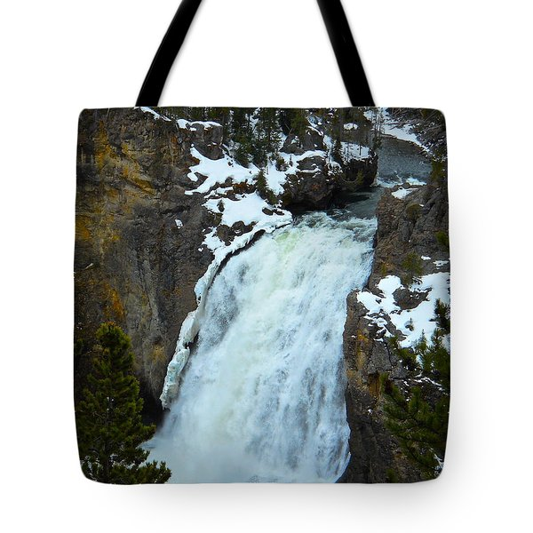 Yellowstone Upper Falls In Spring Tote Bag