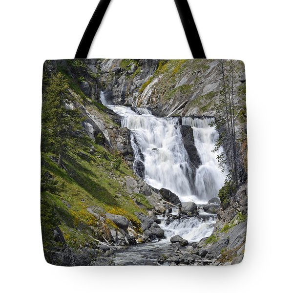 Yellowstone's Mystic Falls With Spring Flowers Tote Bag by Bruce Gourley