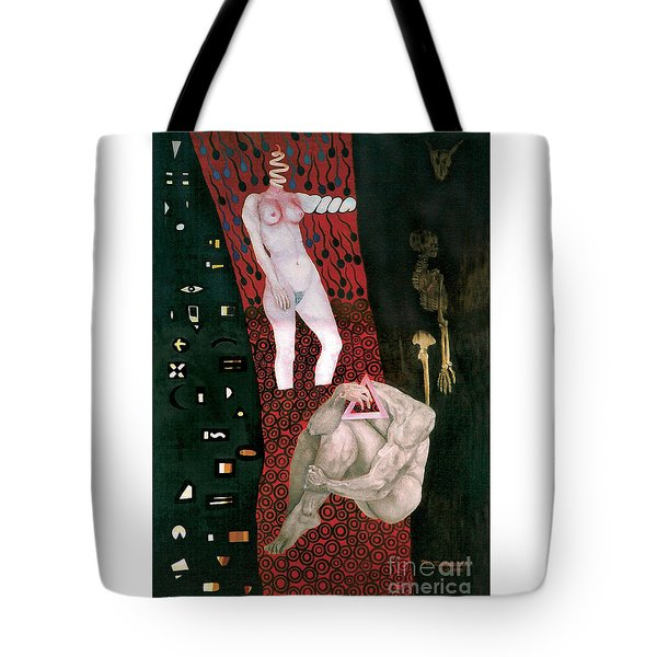 Tote Bag featuring the painting Yin Yang Birth Death by Fei A