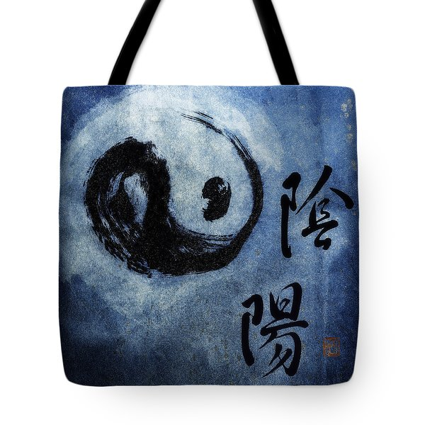 Tote Bag featuring the photograph Yin  Yang Brush Calligraphy by Peter v Quenter