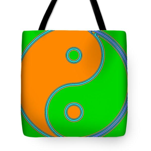 Yin Yang Orange Green Pop Art Tote Bag by Eti Reid