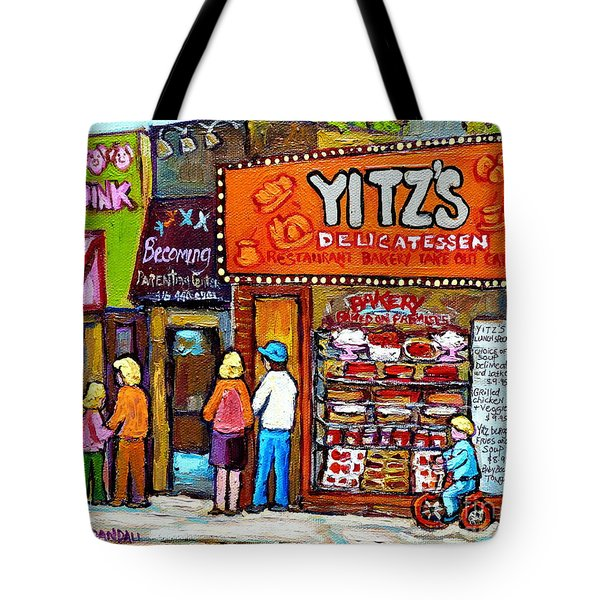 Yitzs Deli Toronto Restaurants Cafe Scenes Paintings Of Toronto Landmark City Scenes Carole Spandau  Tote Bag by Carole Spandau