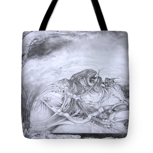 Tote Bag featuring the drawing Ymir At Rest by Otto Rapp